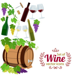 Side vertical border with wine icons vector