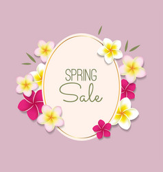 Spring sale with frame and flowers vector
