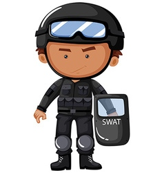 Swat officer in safety uniform vector