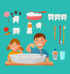 Teeth brushing kids icon set vector