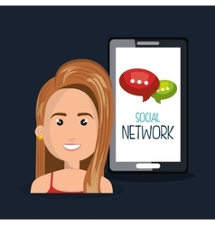 Woman smartphone network online isolated vector
