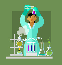 woman working in the chemistry laboratory vector image