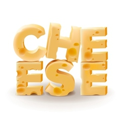 Word cheese written with cheese on white vector