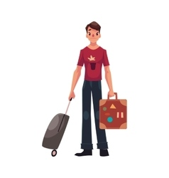 Young man in jeans and tshirt travelling with two vector