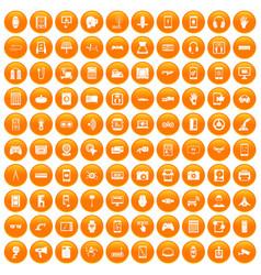 100 adjustment icons set orange vector