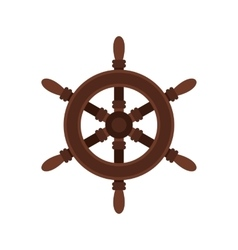 Wooden ship wheel icon flat style vector image
