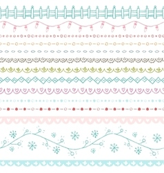 Winter hand drawn seamless borders collection vector image