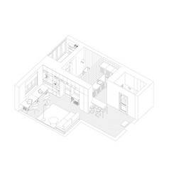Interior drawing of the apartment vector
