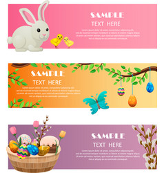 Spring and easter festive web banners set vector
