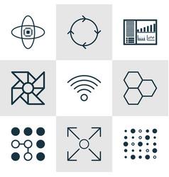 Set of 9 robotics icons includes wireless vector