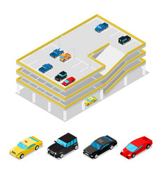 Isometric car parking city transportation vector