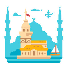 Flat design maidens tower istanbul vector