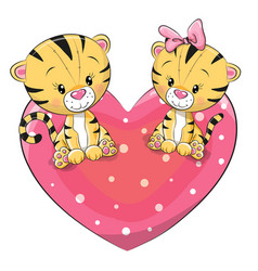 Two cute tigers vector