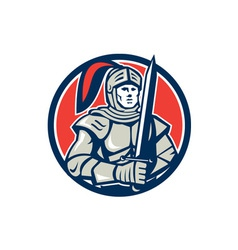 Knight full armor with sword circle retro vector