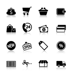 Market icons set with reflection vector