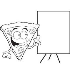 Cartoon slice of pizza with a sign vector