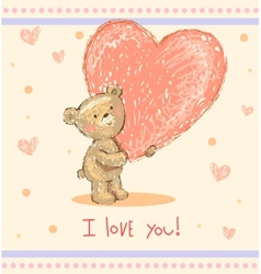 Greeting card with teddy bear vector