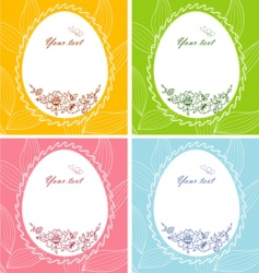 Egg floral banners vector