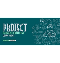 Project management concept with doodle design vector