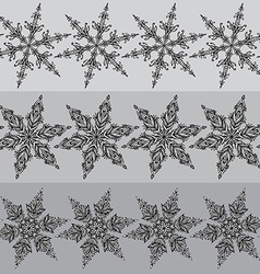 Seamless line patterns with hand drawn ornamental vector