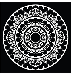 Mehndi indian henna floral tattoo white round pat vector