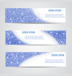 Horizontal blue banners set vector