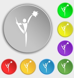 Cheerleader icon sign symbol on eight flat buttons vector
