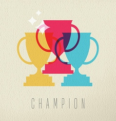 Champion game trophy concept icon color design vector