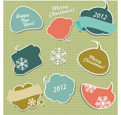 Christmas stickers in form of speech bubbles vector