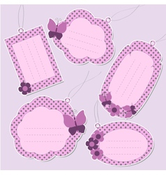 Set of cute purple tags vector
