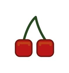 Pixel cherry icon healthy food design vector