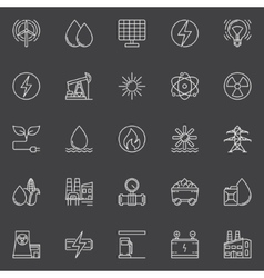 Power and energy outline icons vector