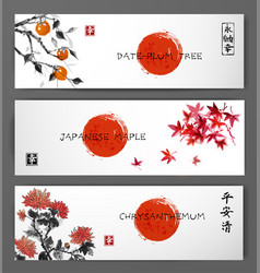 Banners with red japanese maple chrysanthemum and vector