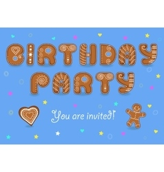 Birthday party invitation Gingerbread font vector image