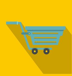 Blue shopping cart icon flat style vector