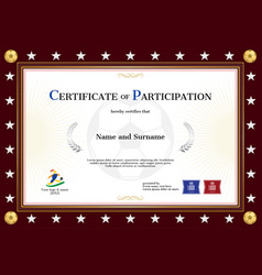 Certificate of participation template in sport vector