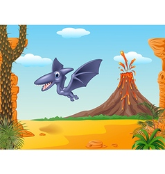 Cute pterodactyl flying with prehistoric backgroun vector image vector image