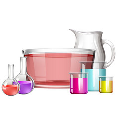 different science beakers with liquid vector image vector image
