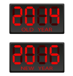 Electronic scoreboard old and the new year vector