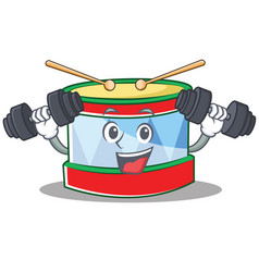fitness toy drum character cartoon vector image
