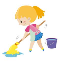 Girl mopping the wet floor vector