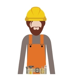 Half body man worker with toolkit and beard vector
