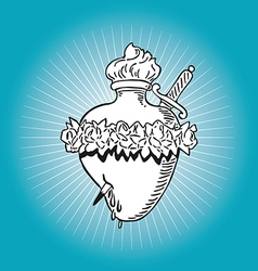 Immaculate Heart of Blessed Virgin Mary tattoo vector image vector image