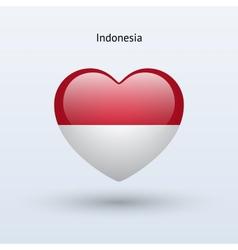 Love indonesia symbol heart flag icon vector