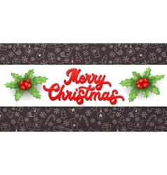 Merry christmas red xmas lettering inscription vector
