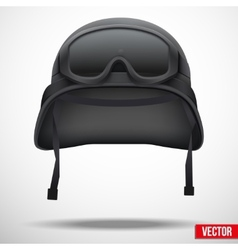 Military black helmet and goggles vector