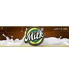 milk label design banner with wood - vector image vector image