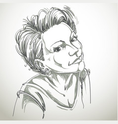Portrait of delicate romantic good-looking woman vector