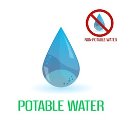 potable and non-potable water blue symbols eps10 vector image