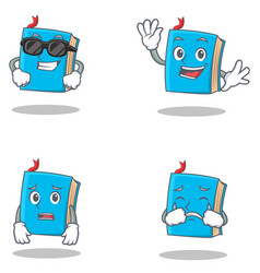 Set of blue book character with cool waving afraid vector